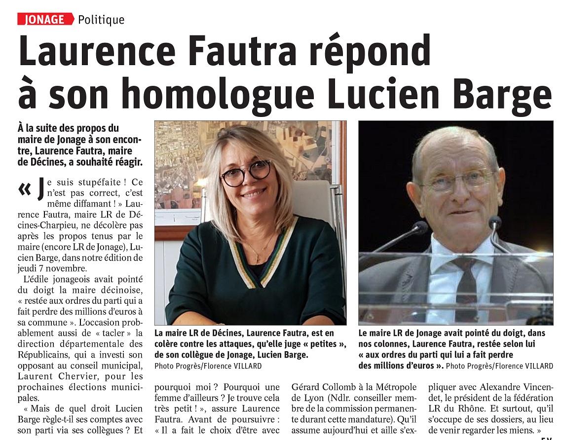 Réponse Laurence Fautra